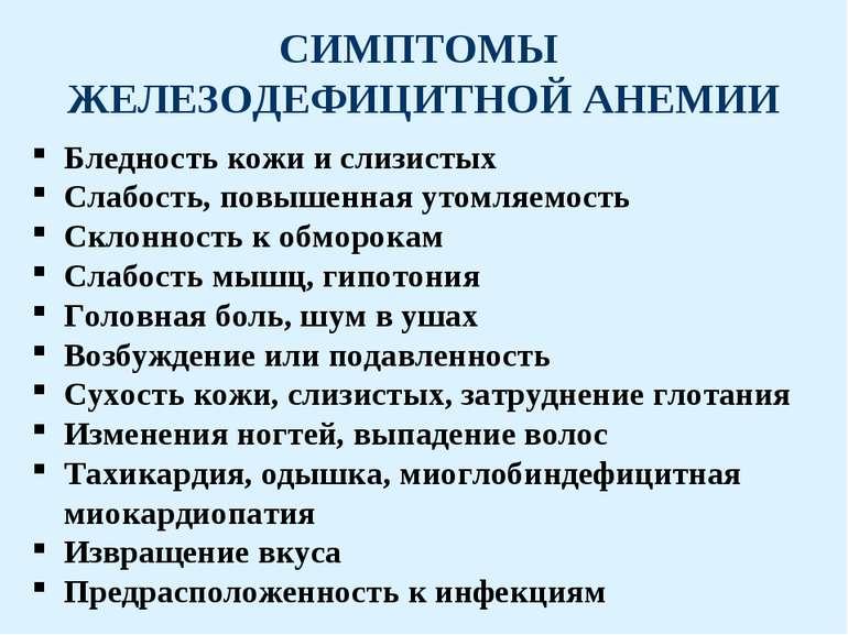 анемия симптомы